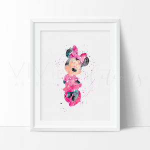 Minnie Mouse Print, Disney Minnie Mouse Watercolor Nursery Art Wall Decor, Baby Girl Bedroom Playroom Wall Art