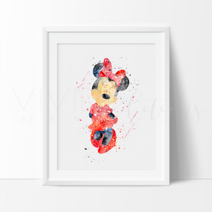 Minnie Mouse Watercolor Art Print - Red Art Print - VIVIDEDITIONS