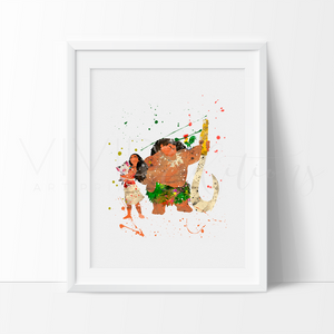 Moana, Maui, Heihei & Pua Watercolor Art Print Art Print - VIVIDEDITIONS