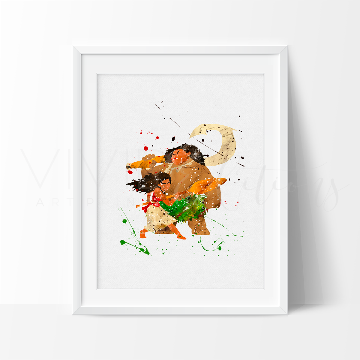 Moana & Maui Watercolor Art Print Art Print - VIVIDEDITIONS