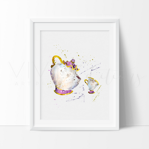 Mrs. Potts & Chip, Beauty and the Beast Watercolor Art Print Art Print - VIVIDEDITIONS