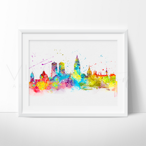Munich Skyline Watercolor Art Print Art Print - VIVIDEDITIONS