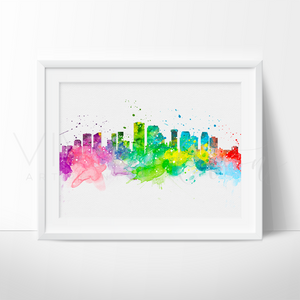 New Orleans Skyline Watercolor Art Print Art Print - VIVIDEDITIONS