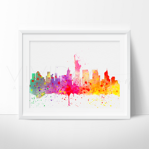 New York City Skyline 2 Watercolor Art Print Art Print - VIVIDEDITIONS