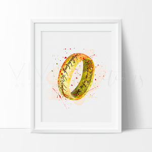 One Ring Watercolor Art Print Art Print - VIVIDEDITIONS