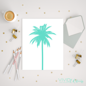 Palm Tree, Teal Art Print - VIVIDEDITIONS