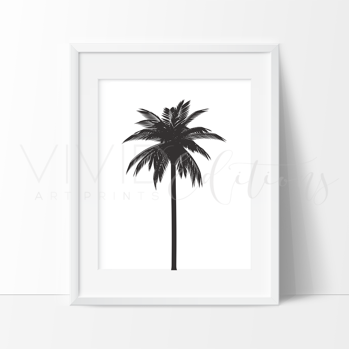Monochrome Black And White Palm Tree Nursery Art Print Vivideditions
