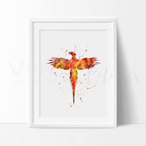 Harry Potter Phoenix Watercolor Art Print Art Print - VIVIDEDITIONS