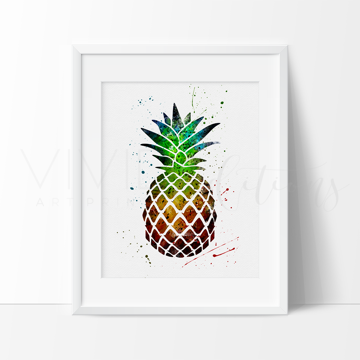 Pineapple 1.0 Watercolor Art Print Art Print - VIVIDEDITIONS