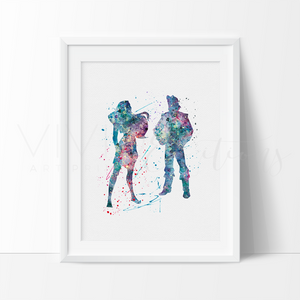 Pocahontas and John Smith Watercolor Art Print Art Print - VIVIDEDITIONS