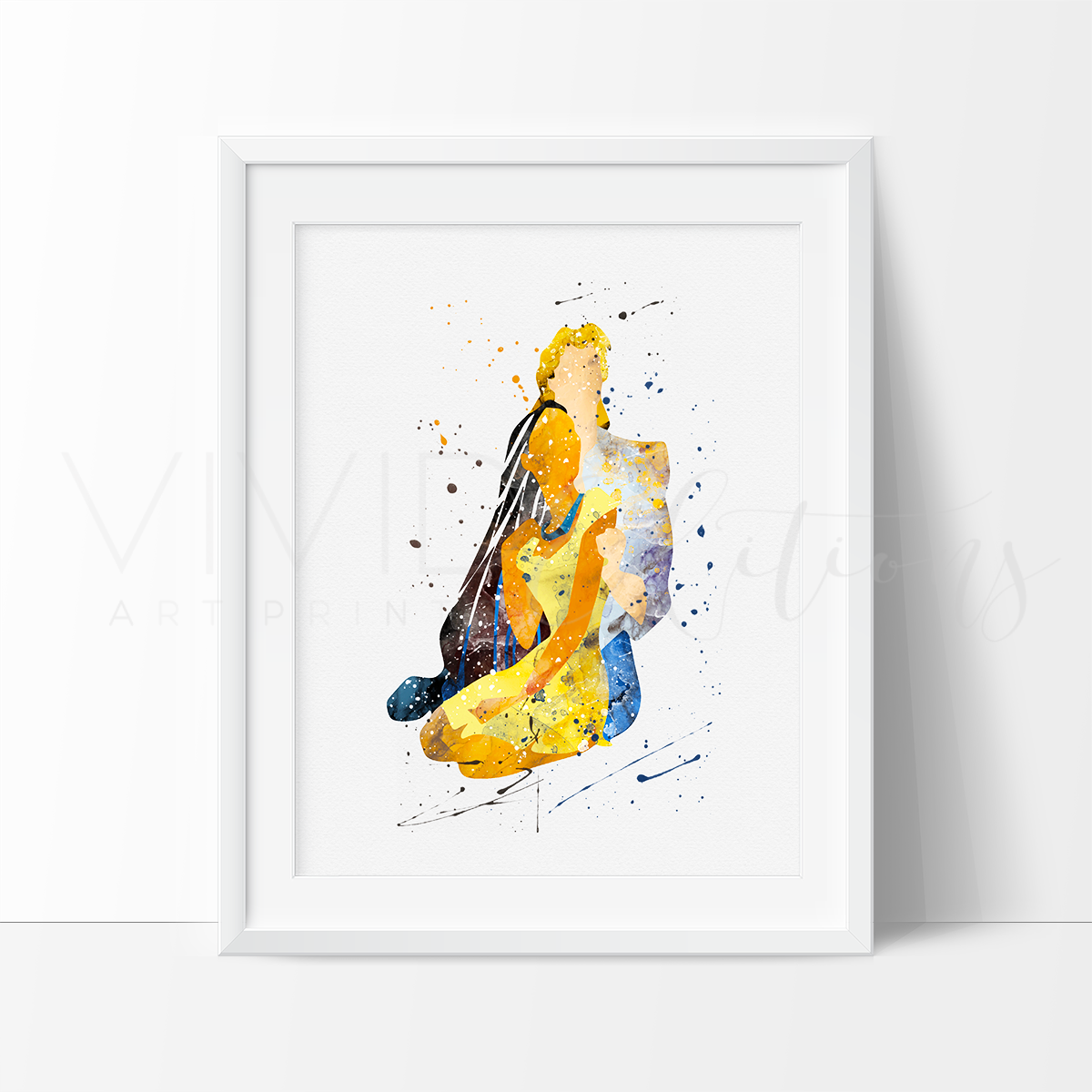 Pocahontas and John Smith, 2 Watercolor Art Print Art Print - VIVIDEDITIONS