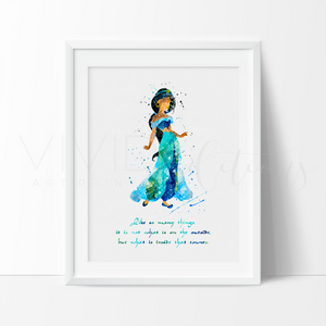 Princess Jasmine Quote, Aladdin Watercolor Art Print Art Print - VIVIDEDITIONS