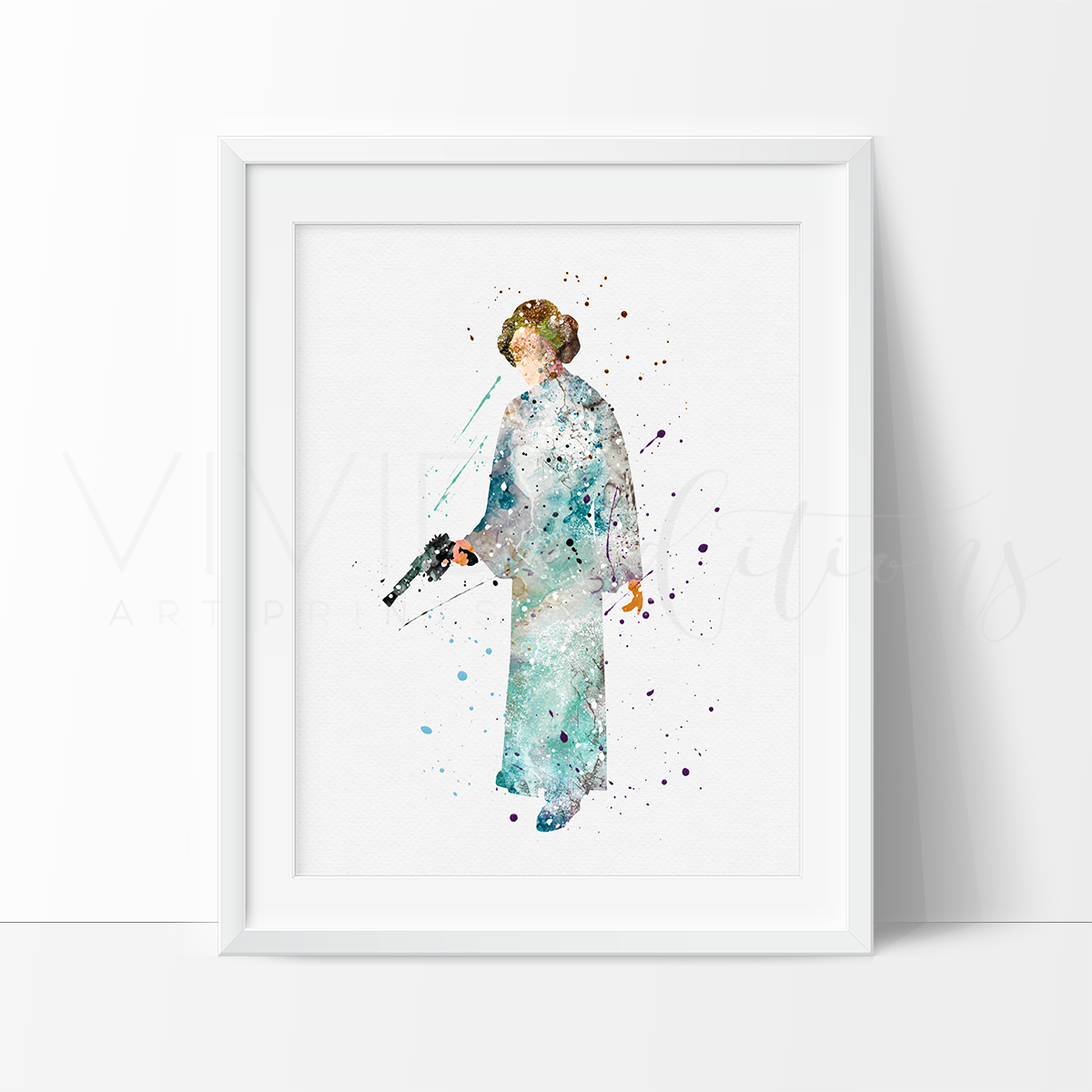 Princess Leia Star Wars Watercolor Art Print Art Print - VIVIDEDITIONS