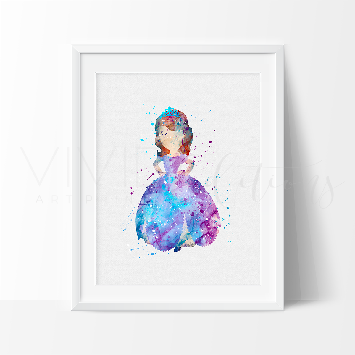 Princess Sofia, Sofia the First Watercolor Art Print Art Print - VIVIDEDITIONS