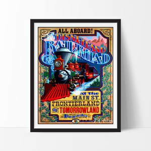 Rail Road at Main Street, Disneyland Poster Art Print - VIVIDEDITIONS
