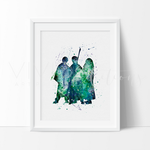 Harry Potter, Ronald Weasley & Hermione Granger Watercolor Art Print Art Print - VIVIDEDITIONS