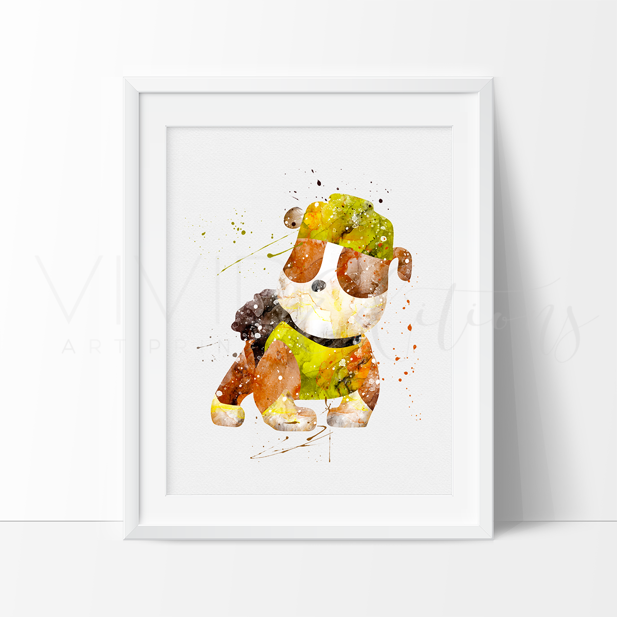 Rubble, Paw Patrol Watercolor Art Print Art Print - VIVIDEDITIONS