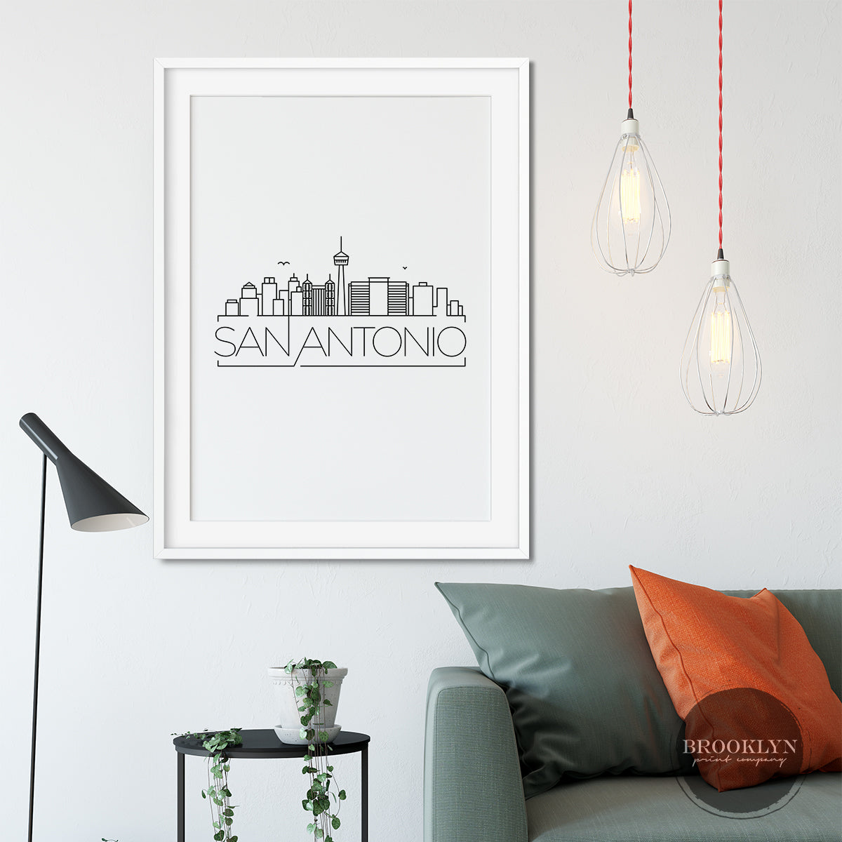 San Antonio City Skyline Travel Poster Art Print - VIVIDEDITIONS