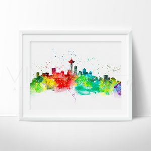 Seattle Skyline Watercolor Art Print Wall Decor