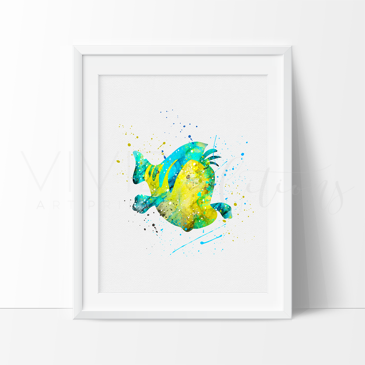 Flounder, Little Mermaid Watercolor Art Print Art Print - VIVIDEDITIONS