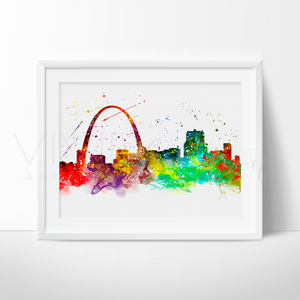 St. Louis Skyline Watercolor Art Print Wall Decor