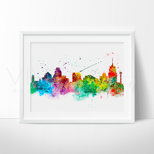 San Antonio Skyline Watercolor Art Print Wall Decor