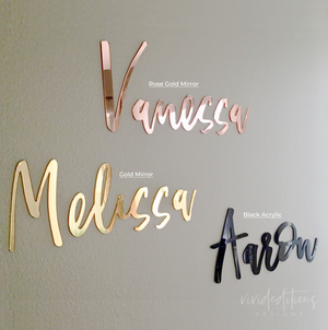 "30"" Silver Mirror Large Personalized Name Sign Art Print - VIVIDEDITIONS"