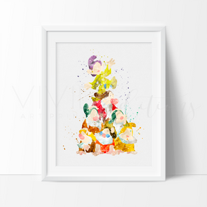 Snow White and the Seven Dwarfs Art Print Wall Decor