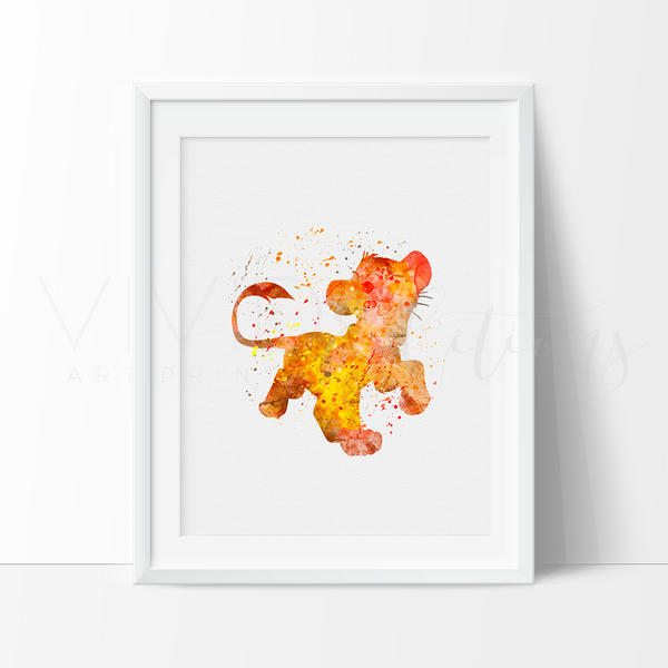 Lion King Simba Watercolor Art Print Art Print - VIVIDEDITIONS