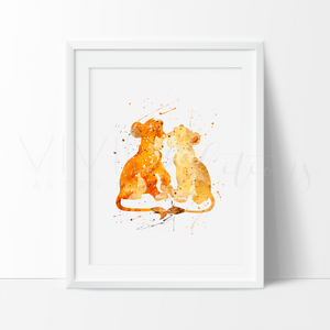 Lion King Simba + Nala Watercolor Art Print Art Print - VIVIDEDITIONS
