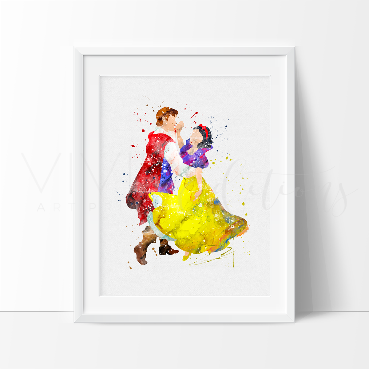 Snow White & The Prince Watercolor Art Print Art Print - VIVIDEDITIONS