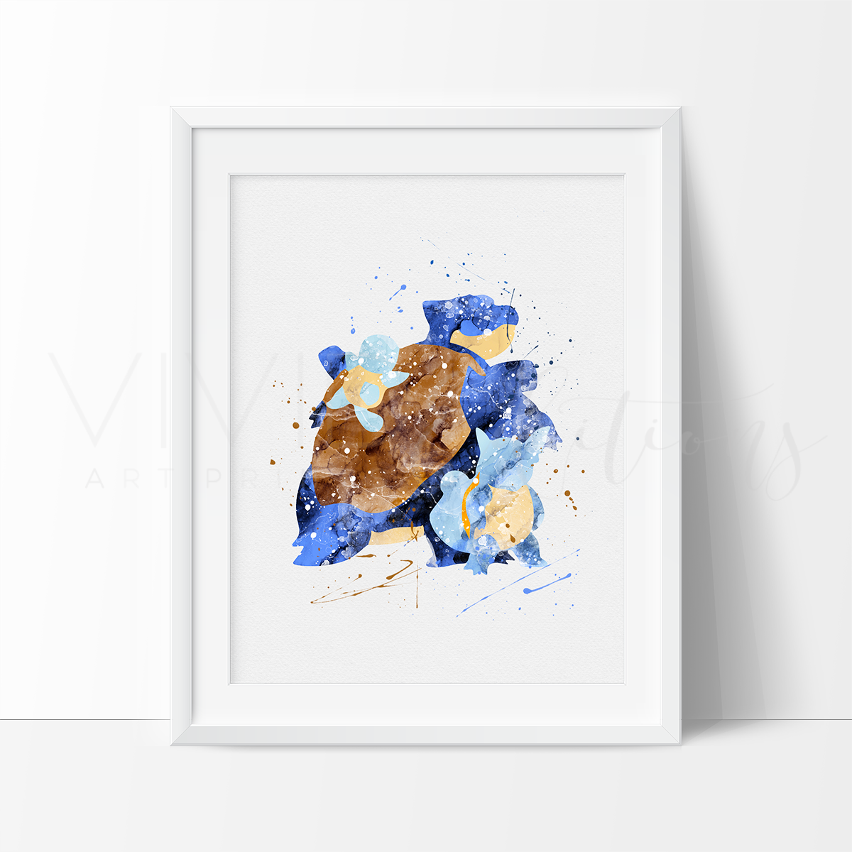Squirtle, Wartortle & Blastoise, Pokemon Evolution Watercolor Art Print Art Print - VIVIDEDITIONS
