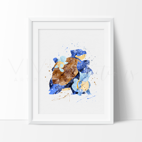Squirtle, Wartortle & Blastoise, Pokemon Evolution Watercolor Art Print