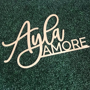 First & Middle Name Stacked Backdrop Sign, Acrylic or Wood