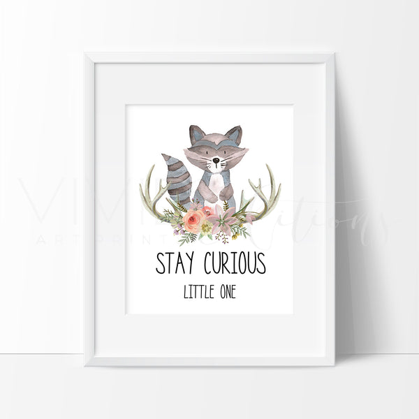 Stay Curious Little One Watercolor Art Print