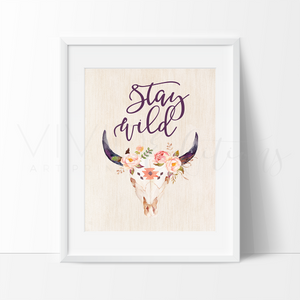 Stay Wild Boho Tribal Cow Skull Quote Art Print Wall Decor