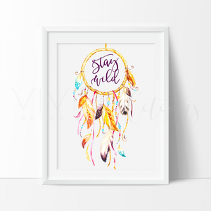 Stay Wild, Dreamcatcher Watercolor Art Print Art Print - VIVIDEDITIONS