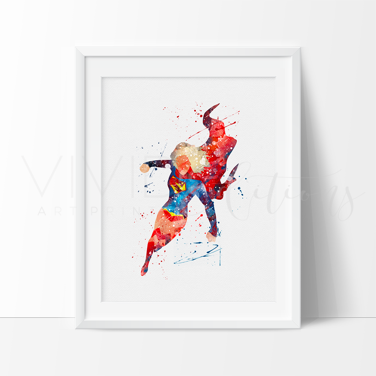 Supergirl Watercolor Art Print Art Print - VIVIDEDITIONS