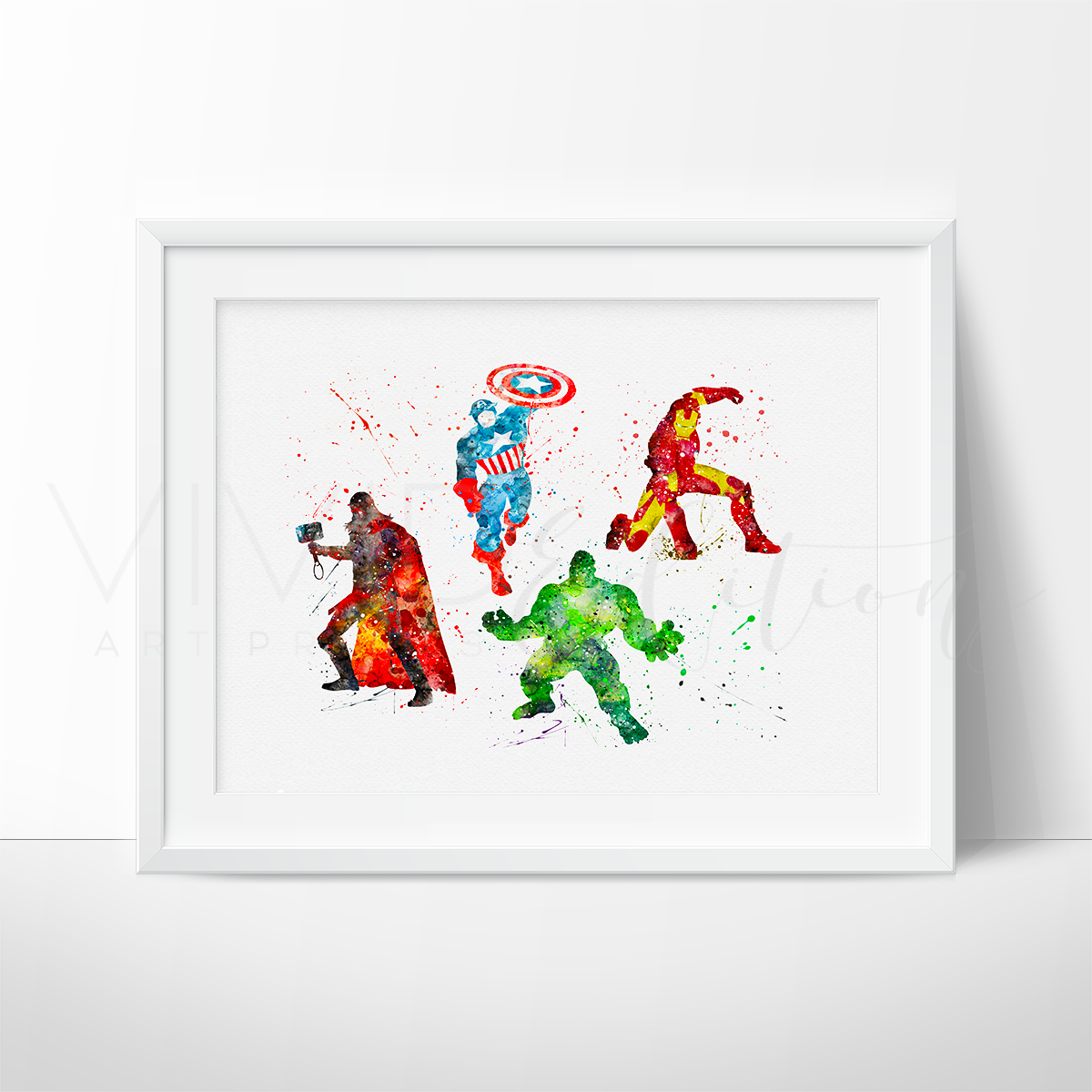 Avengers Superheroes Watercolor Art Print Art Print - VIVIDEDITIONS