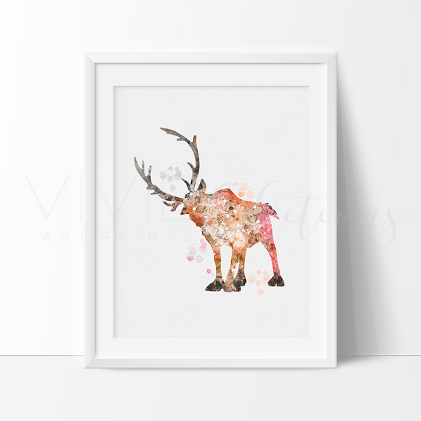 Sven 2, Frozen Watercolor Art Print Art Print - VIVIDEDITIONS