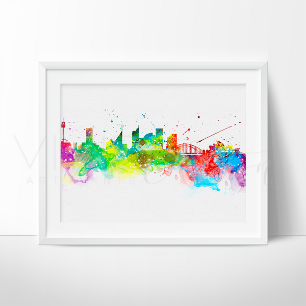 Sydney Skyline Watercolor Art Print Art Print - VIVIDEDITIONS