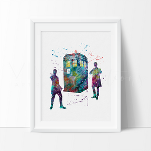 Tardis 2, Doctor Who Watercolor Art Print Art Print - VIVIDEDITIONS