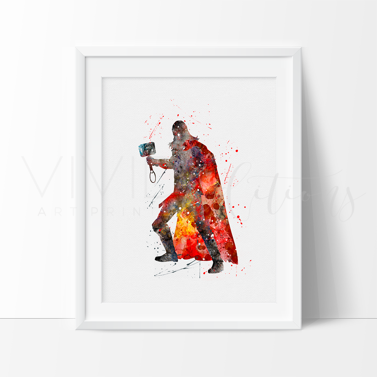 Thor Watercolor Art Print Art Print - VIVIDEDITIONS