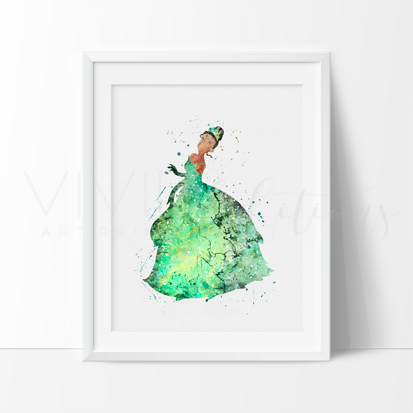Princess Tiana 2 Watercolor Art Print Art Print - VIVIDEDITIONS