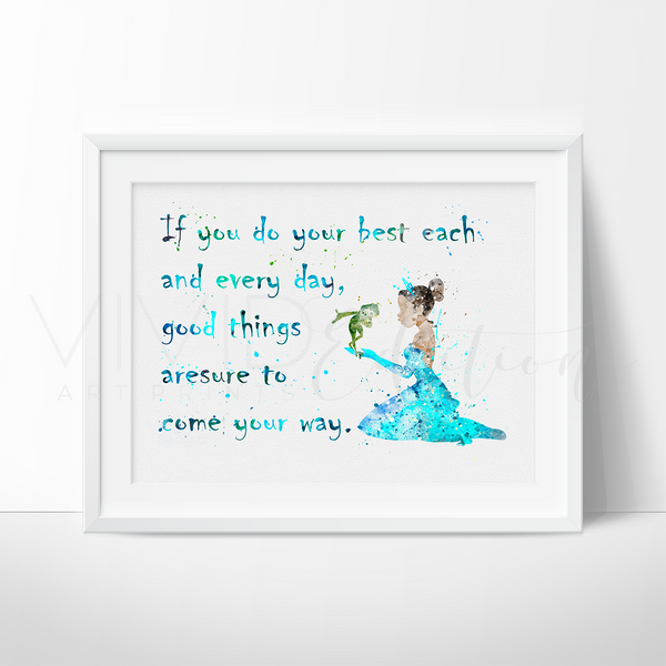 Disney Quote Plaques: Disney Tiana Princess And The Frog Nursery Art Quote Print
