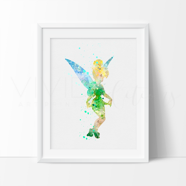 Tinkerbell 2 Watercolor Art Print Art Print - VIVIDEDITIONS
