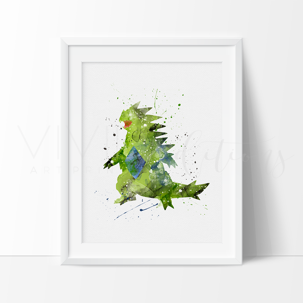 Tyranitar, Pokemon Watercolor Art Print Art Print - VIVIDEDITIONS