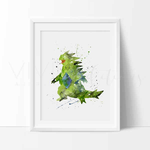 Tyranitar, Pokemon Watercolor Art Print