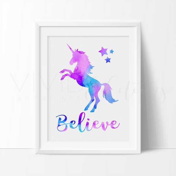 'Believe' Magical Unicorn Art Print Art Print - VIVIDEDITIONS