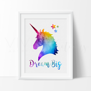 'Dream Big' Magical Unicorn Art Print Art Print - VIVIDEDITIONS
